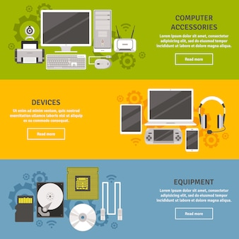 Pc and computer equipment with devices and accessories flat banner set isolated