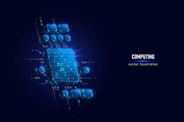 Pc cpu digital wireframe made of connected dots. symbol of personal computer central processing unit low poly vector illustration on blue background.