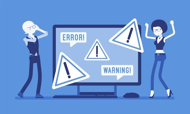 Ошибка пк, предупреждения для пользователей. сердитые клиенты мужского и женского пола у монитора с указанием опасности, символа внимания, информации, отображаемой на устройстве, предупреждают о проблеме. векторная иллюстрация, безликие персонажи