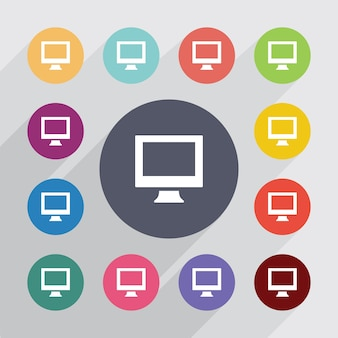 Pc, flat icons set. round colourful buttons. vector