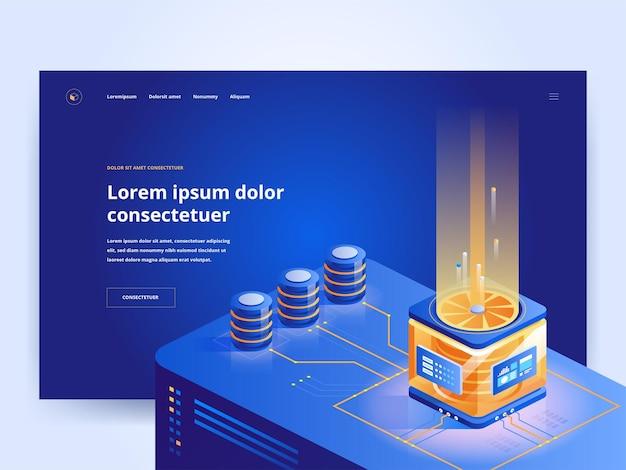 Pc 하드웨어 상점 파란색 방문 페이지 템플릿입니다. 컴퓨터 장비 인터넷 상점 웹사이트 홈페이지 ui 아이디어에는 아이소메트릭 벡터 삽화가 있습니다. 현대 서버 기술 웹 배너 어두운 색상 3d 개념
