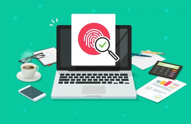 親指タッチまたは拇印pcプライバシーidによる指紋セキュリティ保護は、コンピューターのラップトップドキュメントフラットアイコンの指紋印刷アクセスを介して識別します