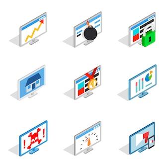 Pc monitor icon set on white background