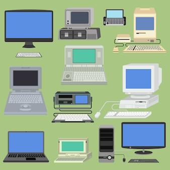 古いレトロなビンテージベクトルコンピューターpcモニターとテレビ画面。クラシックなアンティークテクノロジーのオールドスタイルのビジネスパソコン機器。 pcレトロデスクトップハードウェア通信画面とキーボード