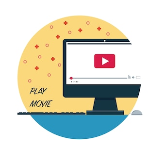 Pc play movie vector