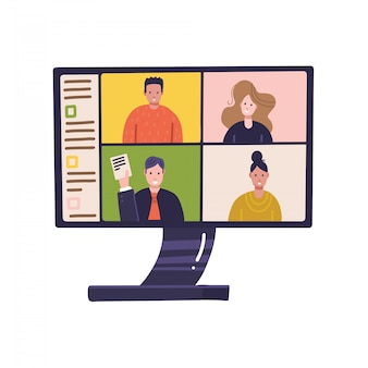 Pc screen with online distant conference on monitor with people participating in business meeting from home. work in home, self isolation, quarantine corona virus, freelance concept. flat