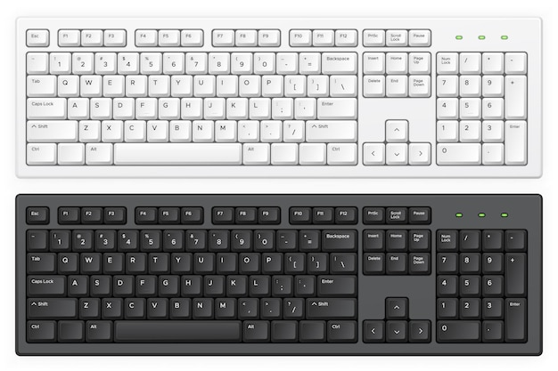 Pc white and black keyboards with english qwerty alphabet