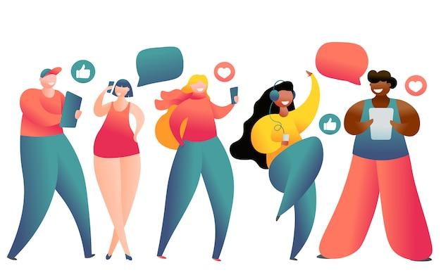 ソーシャルネットワーキングおよびブログのためのラップトップ、タブレットpc、スマートフォンを使用している若者のイラストレーション。