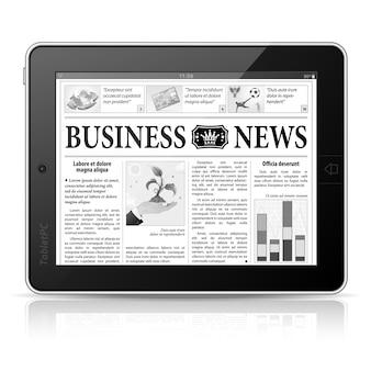 コンセプト - デジタルニュース。画面にビジネスニュースが表示されたタブレットpc