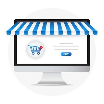 Pcとスクリーン購入。コンセプトのオンラインショッピング。