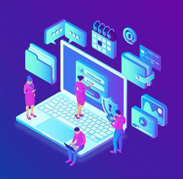 データ保護。画面上の認証フォーム、個人データ保護を備えたデスクトップpc。データアクセス、画面上のログインフォーム。
