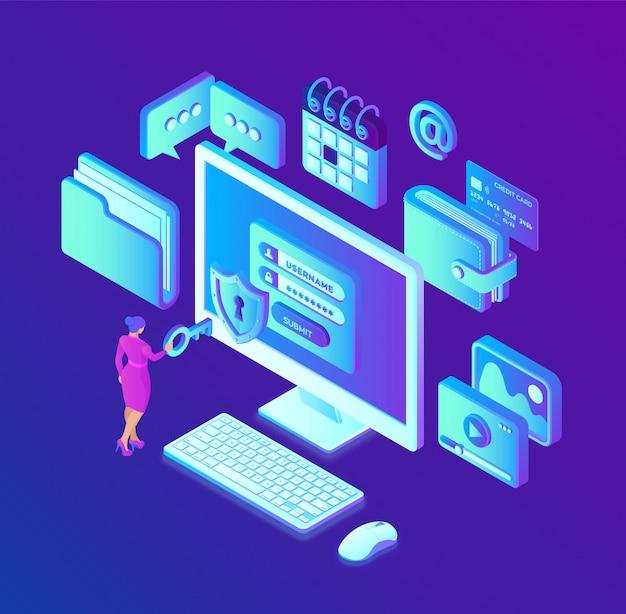 データ保護。画面上の認証フォーム、個人データ保護データアクセス、ラップトップ画面上のログインフォームを備えたデスクトップpc。