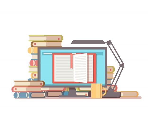 書籍のスタック、コーヒーカップ、テーブルランプ、開いた本のpc画面。ライブラリオンラインフラットコンセプト。