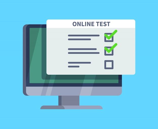 オンラインテスト。 pc画面上のアンケート調査フォーム。試験リスト、コンピューターテスト、オンラインクイズのコンセプト