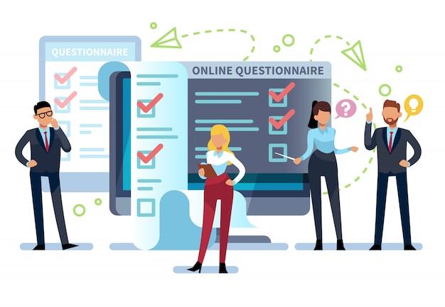 オンラインアンケート。人々はpcでインターネット調査フォームに記入します。試験リスト、成功したコンピューターテスト、オンラインクイズ