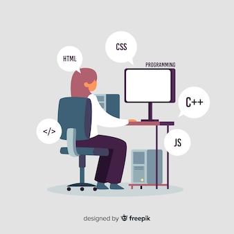 Pcを扱うプログラマーの肖像画