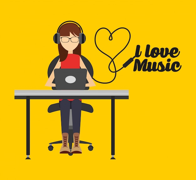 音楽ライフスタイルイラスト、pcで音楽を聴く女性