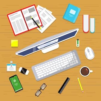 オフィステーブルトップビュー。ラップトップとビジネス金融マネージャーワークスペースマウスpcフラット