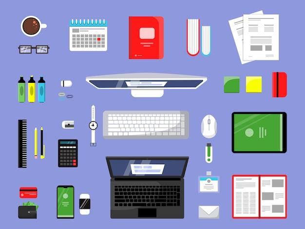 オフィスアイテムのトップビュー。分離された紙の本ラップトップpc要素を持つビジネスと金融ツールマネージャーワークスペース