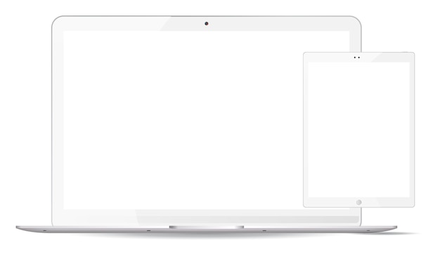 白いノートパソコン、タブレットpcのモックアップセット。モバイルデバイス