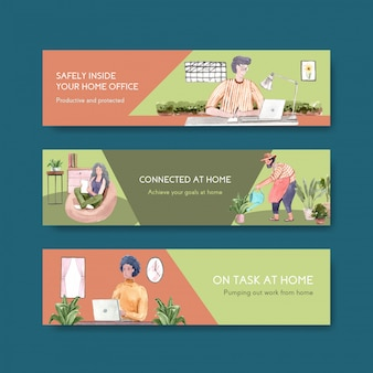 人々は自宅でラップトップ、テーブルのpc、ソファー、ミニガーデンで働いています。ホームオフィスバナーコンセプト水彩イラスト