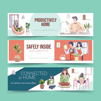 人々は自宅でラップトップ、テーブルのpc、ソファー、キッチンで働いています。ホームオフィスバナーコンセプト水彩イラスト