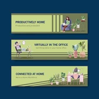 人々は自宅でラップトップ、テーブルのpc、ソファで仕事をしています。ホームオフィスバナーコンセプト水彩イラスト