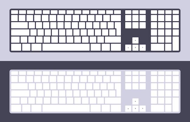 空白のキーを持つpcのキーボードのセット