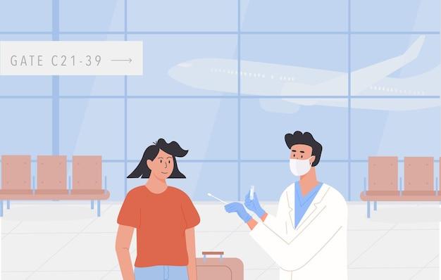 空港でのpcrテスト。証明書を飛ばすのに適した状態で旅行します。医師は旅行者から鼻腔スワブテストを受けます。