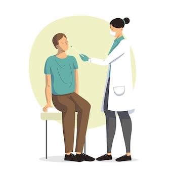 医師と患者とpcrの鼻腔スワブテスト