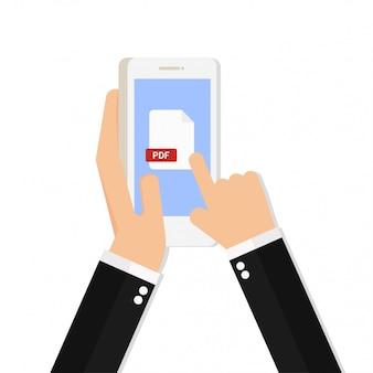 Pdf file icon on smartphone screen