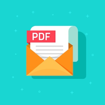 Pdf file isolated on envelope with paper document