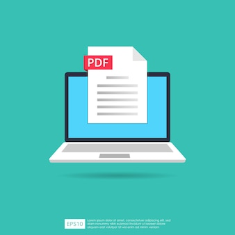 노트북 화면 개념에 pdf 파일 아이콘