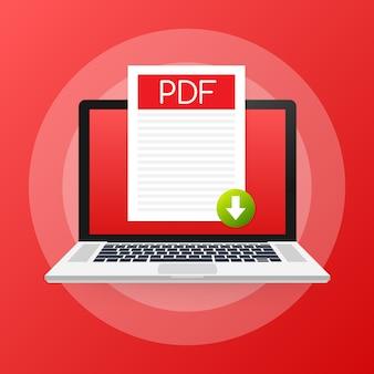 ノートパソコンの画面にpdfボタンをダウンロードします。ドキュメントの概念をダウンロードします。 pdfラベルと下矢印記号のあるファイル