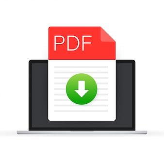 Pdfファイルのアイコンをダウンロードします。スプレッドシートのドキュメントタイプ。