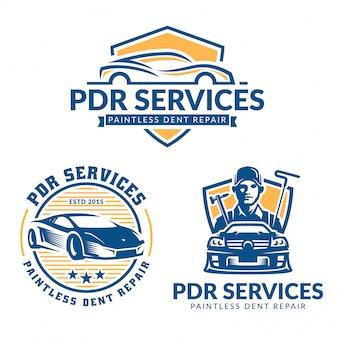 無塗装デント修理ロゴセット、pdrサービスロゴパック、ベクトルコレクション