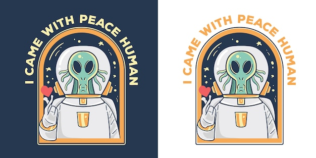 Peace alien illustration.
