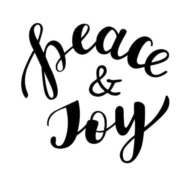 평화와 기쁨 손으로 쓴 글자