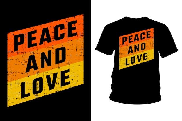 Дизайн типографии футболки с слоганом мира и любви