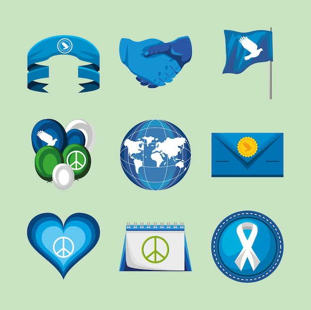 Peace blue icon set