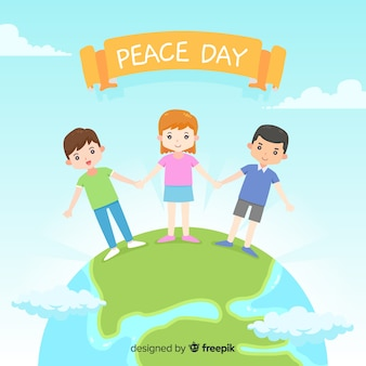 Peace day background children holding hands around the world