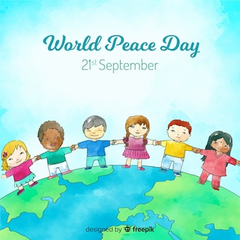 Peace day background with children