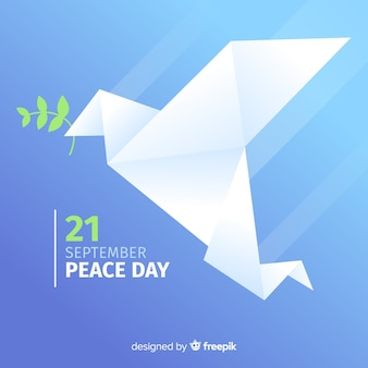 Peace day background with cute dove