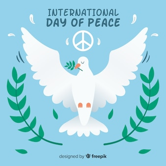 Peace day background with cute white dove
