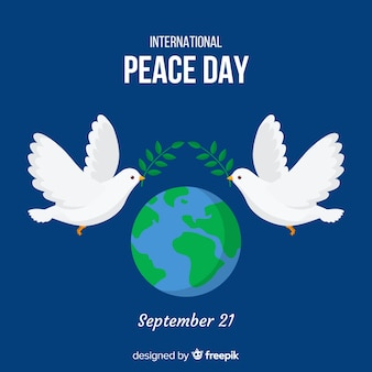 Peace day background with doves and world