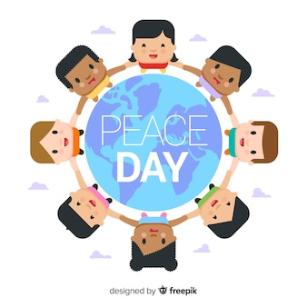 Peace day background with flat kids around earth