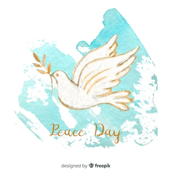 Peace day background with hand painted white dove