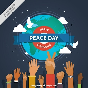 Peace day background with hands and world