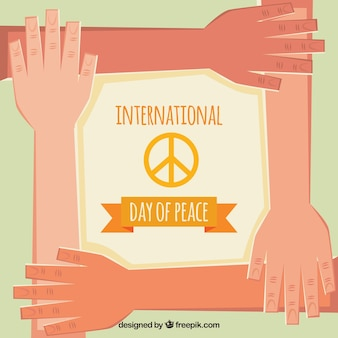 Peace day background with hands in flat design