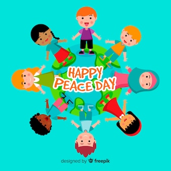 Peace day background with kids holding hands around globe